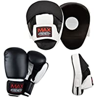 MAXSTRENGTH  Focus Pads Martial Arts Training Kickboxing Punching Hook And Jab Muay Thai Boxing Gloves 8oz, 10oz, 12oz Exercise.