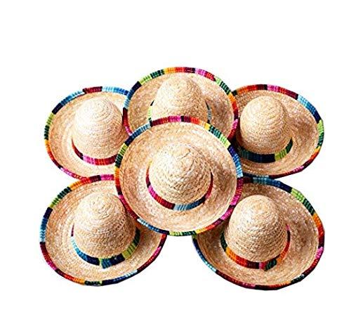 Floratek Mini-mexikanische Hut, 15,2 cm, gewebter Strohhalm, Mini-Sombrero-Hüte, für Party-Dekorationen, für Kinder, Tiere, Hunde, Katzen, 6 Stück (Stroh-hüte Bulk)