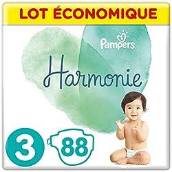 Pampers - Harmonie - Couches Taille 3 (6-10kg) Hypoallergénique - Lot economique (88 couches)