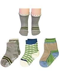 KF bebé niños calcetines de algodón suave Value Pack, 3pares, lactantes para niños pequeños