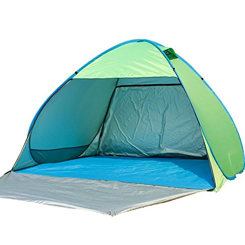 aofit fully-auto Pop Up Zelt faltbar Sun Shelter Strand Zelt Camping Zelt Beach Sunshelter, Green 02, For 4-5 persons