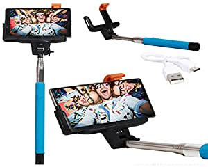 Selfie Stick Extendable Monopod With Inbuilt Bluetooth Remote Wireless Shutter Connectivity Compatible For Reliance Jio LYF Flame 8 -Cyan