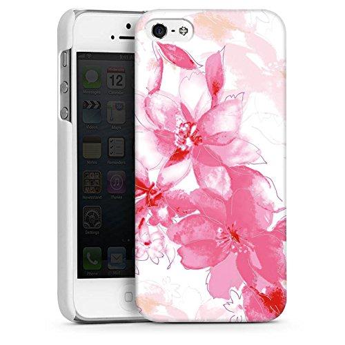 Apple iPhone 5 Housse Étui Silicone Coque Protection Fleur Dessin Feuilles CasDur blanc