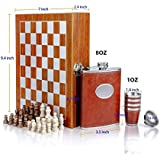 Hanumex 8oz Chess Wooden Box PU Leather Wrapped Stainless Steel 235 Ml, 1 Hip Flask/4 Shot Glass/1 Funnel Set
