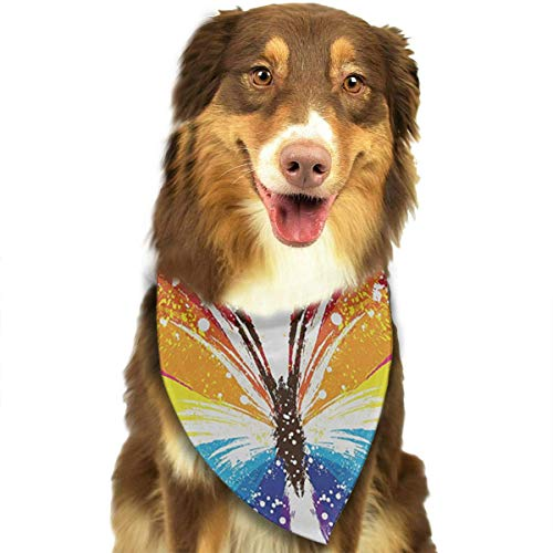 Rghkjlp Colorful Butterfly Pet Bandana Washable Reversible Triangle Bibs Scarf - Kerchief for Small/Medium/Large Dogs & Cats