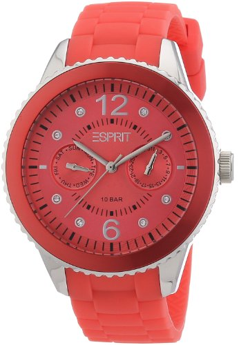 Esprit A.ES105332004 - Reloj analógico de cuarzo para mujer con correa de silicona, color rojo