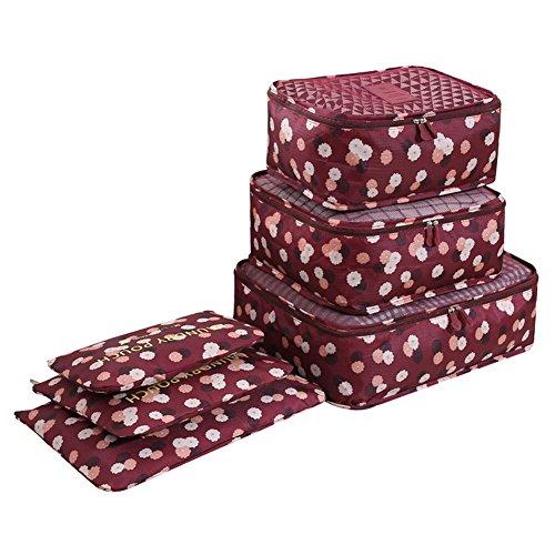 Youson Girl® 6 Stück Wasserdichte Koffeorganizer Packtaschen Kleidung Verpackungs Würfel Reisegepäck Veranstalter (Rote Blume)