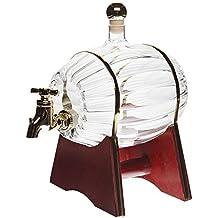 Barril de vino Barril con grifo 500ml barril de brandy barril de whisky con botellas de licor cilindro de vidrio jarra de vidrio grifo litros 0,5 l de licor altura de barril de 16,5 cm, SLK GmbH