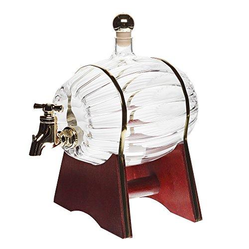 Weinfass Fass mit Zapfhahn 500ml MUNDGEBLASEN Schnapsfass Whiskyfass mit Auslaufhahn Glas Karaffe Glasfass 0,5 Liter l Likörflaschen Schnapsflaschen Höhe 16,5 cm von slkfactory