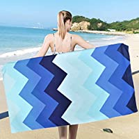 Ikfashoni Blue Stripe Beach Towel, Super Absorbent Quick Dry Beach Towels Oversized, Wave Beach Towels for Cruise, Outdoor, Pool, Gifts, 31 x 60 inches