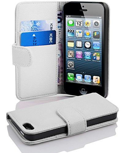 Cadorabo ! PREMIUM – Book Style Hülle im Portemonnaie Design für Apple Iphone 5 / 5S / 5G in MAGNESIUM-WEIß (Fach Portemonnaie Strukturiertes)