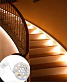 LiZhi Motion Sensor Aktiviert Streifen Beleuchtung Flexible 3.28ft LED Streifen Licht, 3000K Warmweiß für Wandschrank , Flure, Schublade, Treppen (Wiederaufladbar)