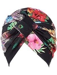 LMMVP Sombrero Mujer India Musulmán Estiramiento Algodón Retro Floral  Turbante Sombrero Cabeza Bufanda ... f2653ffcff1
