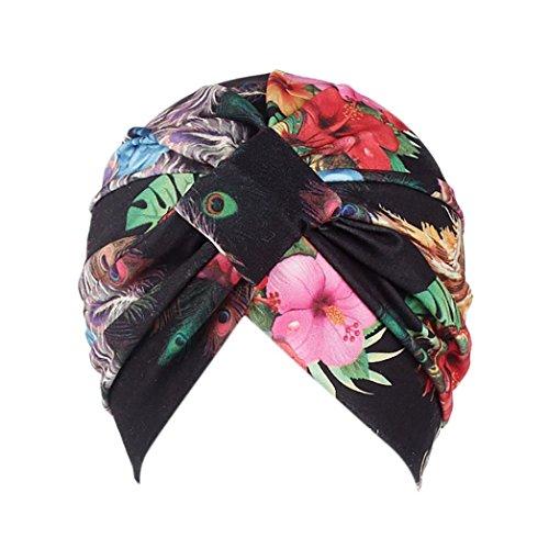 LMMVP Sombrero Mujer India Musulmán Estiramiento Algodón Retro Floral  Turbante Sombrero Cabeza Bufanda Wrap Cap ( 55c5e40c31c