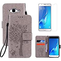 for Samsung Galaxy J5 2016 Kickstand Case and Screen Protector ,OYIME [Gray Cute Cat and Butterfly Tree] Design Leather Wallet Magnetic Holster with Card Holder Full Body Protective Flip Cover