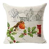 Decorie Romantic Snowing Christmas Linen Square Pillow Case for Home Decor (Style #2)