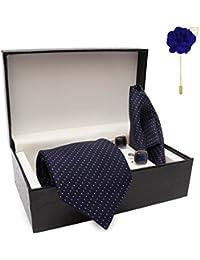 COCO CHANEL Men's Silk Summer Stain Resistant Necktie, Pocket Square, Lapel Pin, Cufflinks Gift Set(LTR_12_FOOL)