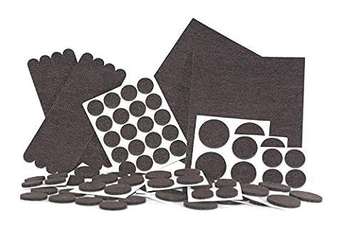 Filzgleiter, Filzpads für Stuhl, Sofa und andere Möbel | Kratzschutz, Bodenschutz für Parkett, Dielen, Laminat, Kacheln, Boden | 98 selbstklebende Möbelgleiter in diversen Formen (u.a. rund, eckig) - Endlich wieder