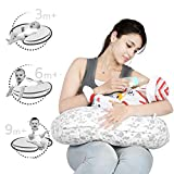 Lula Mom Portable Comfortable Nursing Pillow with Removable & Multi Print Washable Cover-Grey