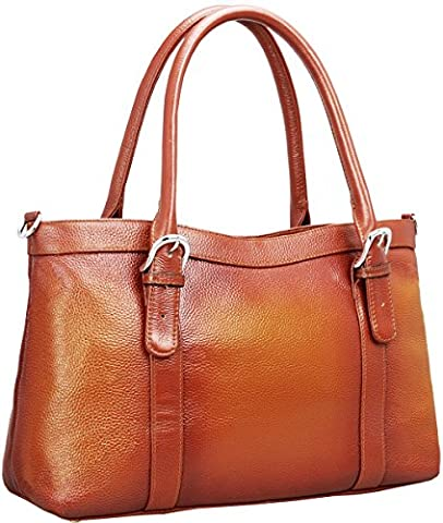 Iswee Women's Leather Shoulder Bag Satchel Handbags and Purse Classic
