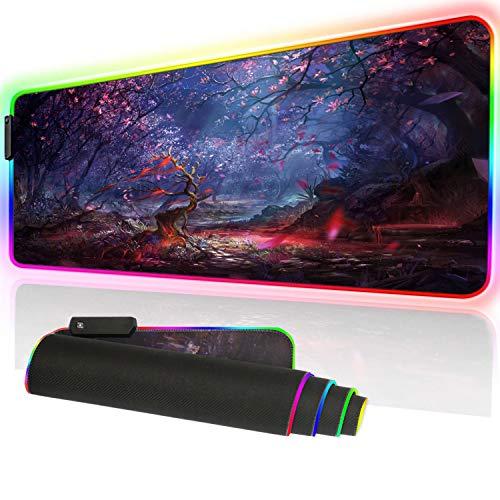 XXXL - Alfombrilla para ratón de Gaming RGB con luz LED Brillante de 35,4 x 15,7 Pulgadas de Grosor, Antideslizante, Almohadilla de Escritorio