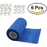 ULTNICE 6 Roll Cohesive Wrap Bandage Tape Selbstklebende Bandage Tape für Athletic Sport 7.5x450cm (blau) preisvergleich bei billige-tabletten.eu