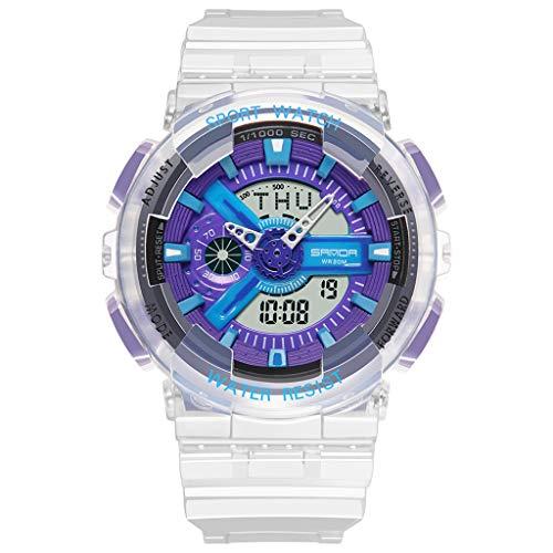 Sanda Multifunktionalen Modetrend Junge Digitale Paar Uhr, Digitalanzeige, Mechanische Uhrwerk, 50m Grenze Wasserdicht, Transparentes Pu Armband, Outdoor Sportuhr (Männlich),Blau