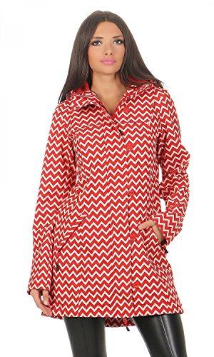 BLUTSGESCHWISTER - WILD WEATHER LONG ANORAK - Damen Jacke, Farbe:Rot (up and down);Größe:L