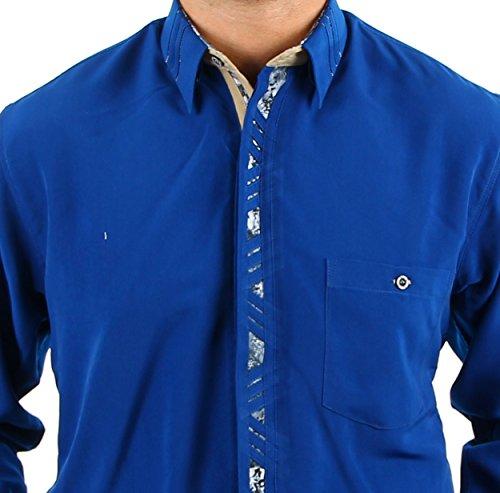 Elegantes royalblaues Hemd, für Herren BESTE QUALITÄT, HK Mandel Besonderes Hemd Langarm Normal Nicht Tailliert, 3084 Royalblau