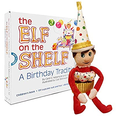 "The Elf on the Shelf A Birthday Tradition Official Kids Story Book Complete Set of 10"" Festive Boy Elf Plush Doll Toy plus Clothes/Accessories Kit Cupcake Suit and Party Hat Outfit in Presentation Box produced by MASTERMEDIA - quick delivery from UK."