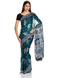 IndusDiva Dark Blue Batik Hand Dyed Saree