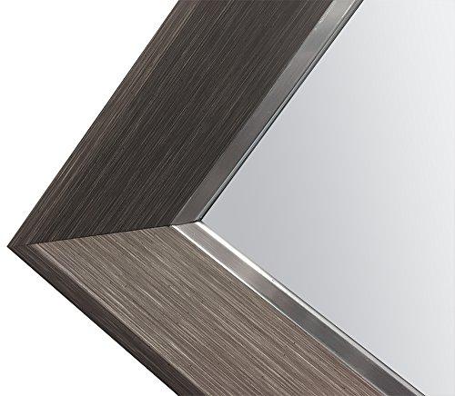 Raphael Rozen Spiegel gerahmtes Wand montiert Zum Aufhängen von Art Deco, Holz Wie und Metall Kombination Elegant, rechteckig, Dunkel Grau Holz genarbt Finish 1 1/4