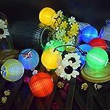 Lanterne con luci a stringa solari, ECOWHO 6.5M 30 LED Lanterne Lanterne con luci a lanterna, luci a solare impermeabili esterne per il giardino di Natale per le feste fuori e voi (colorate)