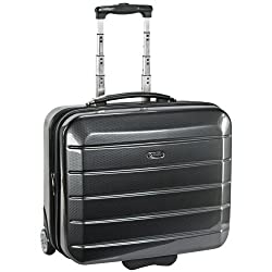 "eleganter Trolley Reise Koffer ""London"" in Carbon-Optik Grau Cabin-Board-Case 46 x 36 x 21,5 cm 35 Liter Businesskoffer Koffer für Kurzreisen kleiner Koffer"
