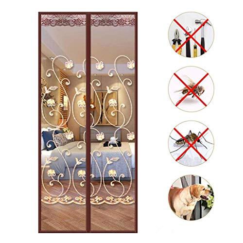 CHENG Magnet Fliegengitter Balkontür, Fiberglasgewebe, Automatisches Schließen Kinderleichte Klebemontage Ohne Bohren Vorhang für Balkontür Wohnzimmer 100×240cm(39x94inch)