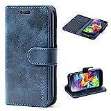 Mulbess Ledertasche im Ständer Book Case / Kartenfach für Samsung Galaxy S5 mini Tasche Hülle Leder Etui,Dunkelblau