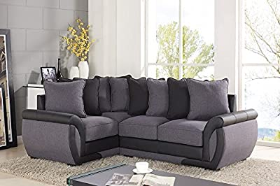 Corner Sofa Suites Settee Gray Charcoal Fabric 3 2 Seater Armchair Leather by uk leisure world
