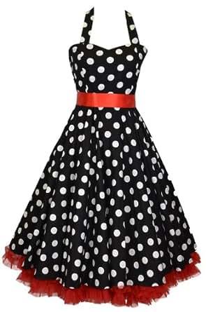 Robe De Bal Style Années 50, Rockabilly, Swing, - Couleur : noire À Pois Blancs Avec Boucle En Ruban Et Jupon - Taille 48