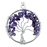 Harmonize Amethyst Tree Of Life Chakra Pendant Chips Reiki Healing Crystal Spiritual Gift Gemstones