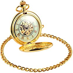 AMPM24 Luxury Golden Luminous Mens Mechanical Pocket Watch + Chain and AMPM24 Gift Box WPK020