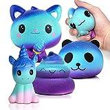 Dapei 4 Stück Desire Deluxe Kawaii Squishies Pack (Einhorn Donut + Katze + Panda + Poop) Langsame Dekompressionsgeschenk für Kinder Erwachsene Mädchen Jungen