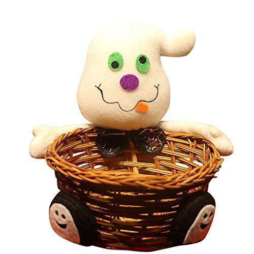 �igkeiten Korb, Puppe Obst Dekoration Schüssel Halloween-Geist Süßigkeiten-Korb Home Decor Handgewebter Korb Schwarze Katze/Kürbis/ Zombie/Geist (C) ()
