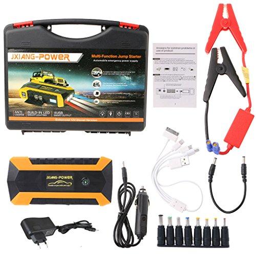 FZMT Starthilfe Powerbank, 600A Spitzstrom 89800mAh Tragbare Auto Starthilfe 12V,Autobatterie Anlasser mit LED Taschenlampe,Petrol 6.0 L/Diesel 4.0 L