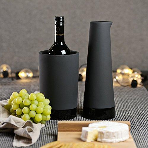 Magisso 70604 Flaschen- und Weinkühler in Keramik, hält das Getränk 4-6 Stunden natürlich abgekühlt durch Verdunstung, 12,7 x 12,7 x 20,9 cm - 7