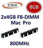CSX original 2 x 4GB = 8GB Kit 240 pin FB-DIMM DDR2-800 PC2-6400 CL6 double side für MacPro Systeme 1,1 2,1 3,1 (Baujahre 2006 bis 2008 - max 8x4GB) mit extra großem Kühlkörper
