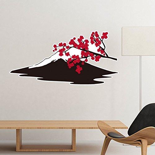Japan Kultur Japanischen Stil, Rot Schwarz AST Sakura Fuji Silhouette Art Illustration Muster Abnehmbare Wand Aufkleber Art Aufkleber Wandbild DIY Tapete für Raum Aufkleber