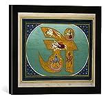Gerahmtes Bild von Indische Miniatur Om, Kunstdruck im hochwertigen handgefertigten Bilder-Rahmen, 40x30 cm, Schwarz matt