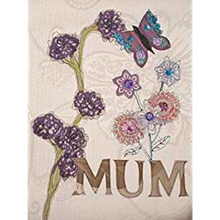 Handmade Mixed media Mothers Day Gift Butterfly applique embroidery wall art