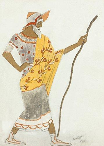 Vintage Ballet Léon Bakst costume design per il pastore in Daphnis e Chloe C1912250gsm lucido arte della riproduzione A3poster