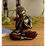 ECraftIndia Antique Finish Handcrafted Thinking Buddha Polyresin Statue (12.5 Cm X 7.5 Cm X 16.25 Cm, Red And Black)